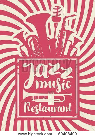 banner for the restaurant with jazz music with woodwinds and microphone