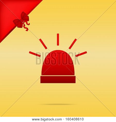Police Single Sign. Cristmas Design Red Icon On Gold Background.