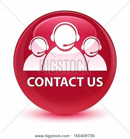 Contact Us (customer Care Team Icon) Glassy Pink Round Button