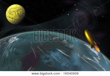 Rockets hurtles through space with 2 planets in background