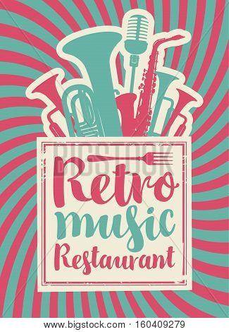 banner for the restaurant with retro music with woodwinds and microphone