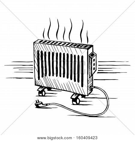 Isometric convector. Appliances heater. Sketch vector illustration