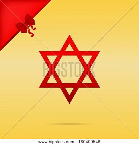 Shield Magen David Star. Symbol Of Israel. Cristmas Design Red I
