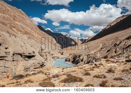 River in Himalaya Mountain Canyon on Leh-Keylong road in India