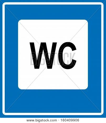 Toilet road sign on white background. WC traffic symbol, text, vector illustration for public places and traffic