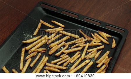 French Fries In A Baking Pan, Top View