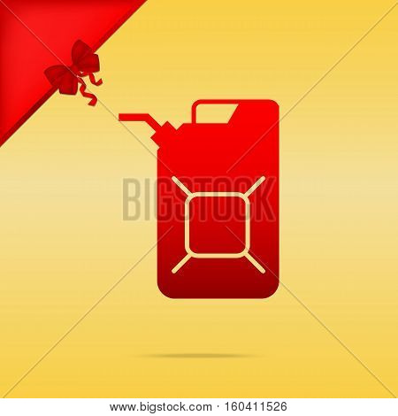 Jerrycan Oil Sign. Jerry Can Oil Sign. Cristmas Design Red Icon
