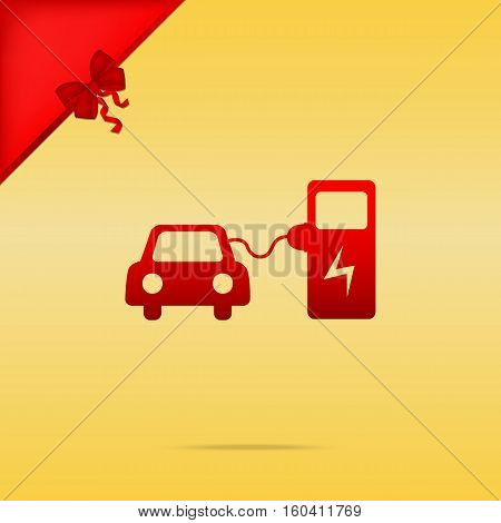 Electric Car Battery Charging Sign. Cristmas Design Red Icon On