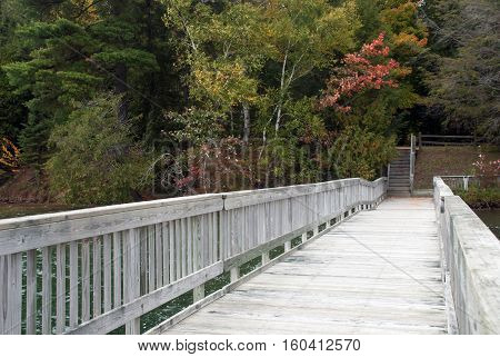 Wooden pier on the Pete's Lake Campground, Munising, Michigan, USA