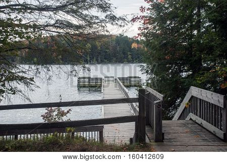 A view of the pier and the Pete's Lake from the Campground, Hiawatha National Forest, Michigan, USA