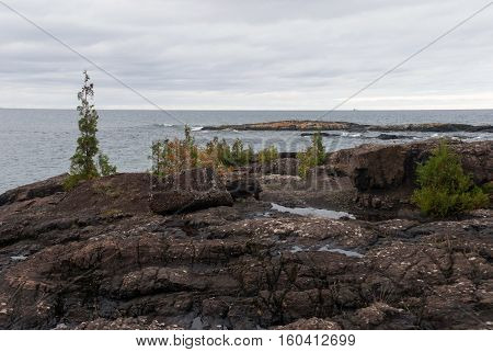 View at Superior Lake from the Black Rocks of Presque Isle Park, Marquette, Michigan, USA