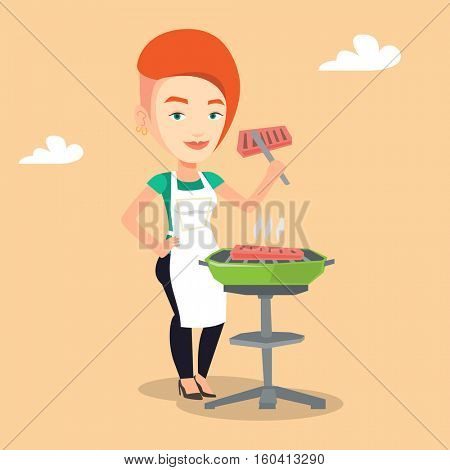 Caucasian woman cooking steak on the barbecue grill. Young smiling woman preparing steak on the barbecue grill. Woman having outdoor barbecue. Vector flat design illustration. Square layout.