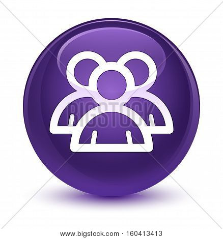 Group Icon Glassy Purple Round Button