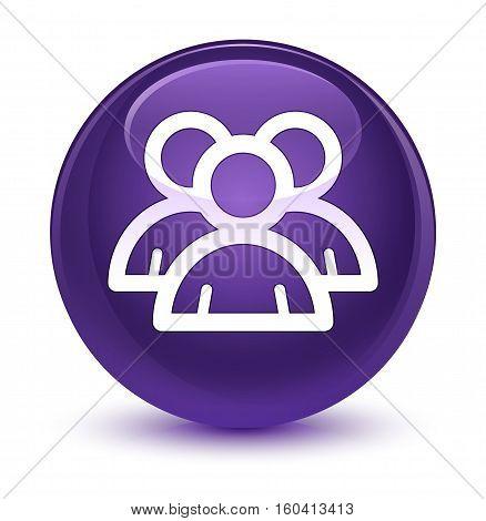 Group Icon Glassy Purple Round Button