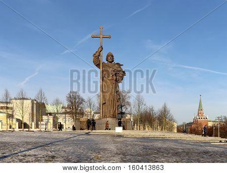 Moscow, Russia - November 21, 2016: Monument To Holy Prince Vladimir The Great On Borovitskaya Squar