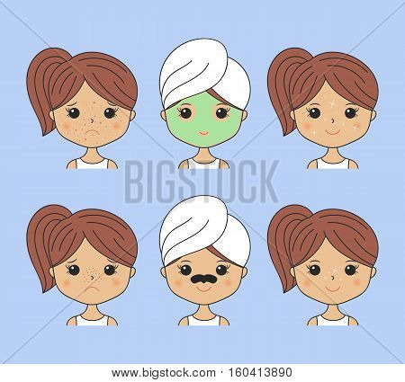 Beautiful woman making cosmetic procedures. Facial mask with charcoal, algae. Eye pads, moisturizing sheet mask. Icons set. Cartoon girl fixing skin problems. Vector illustration. Spa beauty theme.