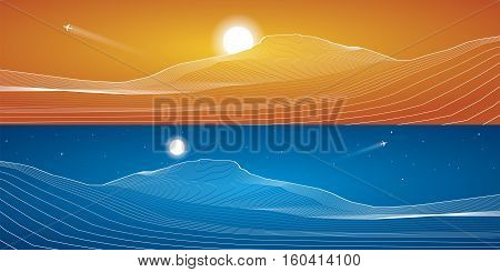 White lines, sand dunes, mountains, desert, abstraction composition, panorama,vector design background, day and night