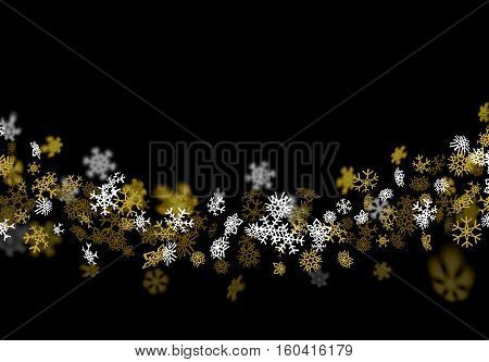 Snowfall background with golden snowflakes blurred in perspective