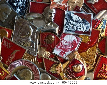 Yekaterinburg, Russia - December 7, 2016: Soviet badges depicting Vladimir Lenin. Collection. Close-up. Faleristics.