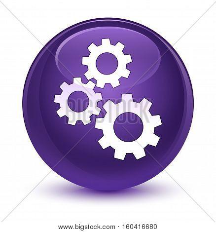 Gears Icon Glassy Purple Round Button