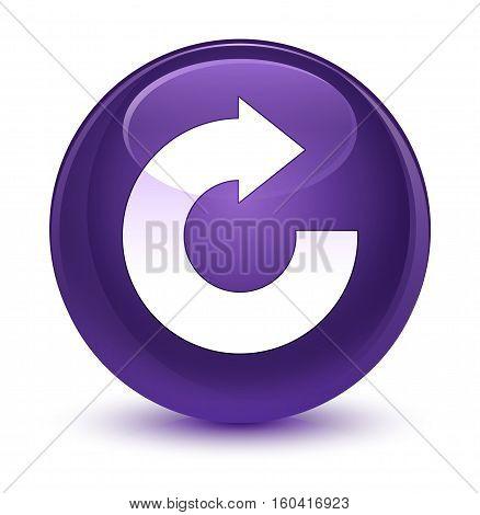 Reply Arrow Icon Glassy Purple Round Button