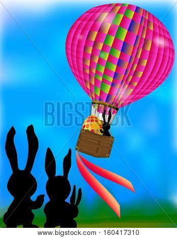 Easter card with pink ballon, egg, ribbons, grass and silhouette of a rabbits
