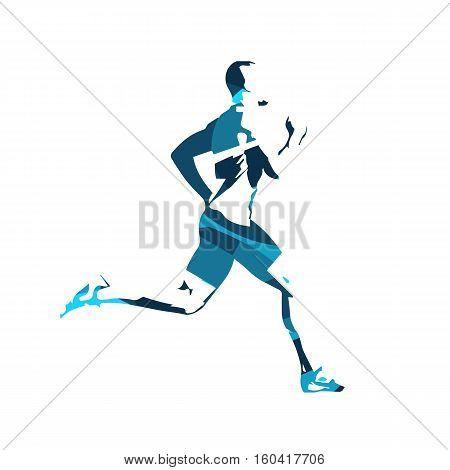 Abstract blue vector runner. Running man vector isolated illustration. Sport athlete run decathlon