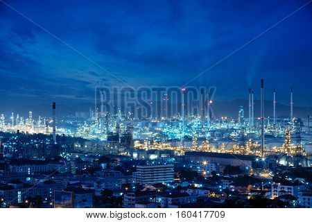 Refinery plant area at night, Energy factory concept