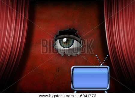 Eye peers out from stage with retro TV