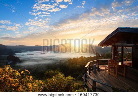 Phu Langka national park The landscape of misty mountains and at sunrise Phayao Northen Thailand