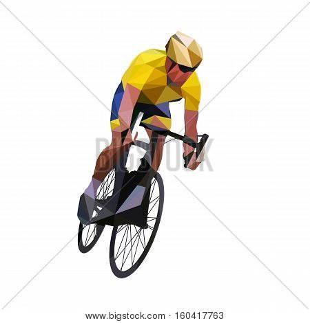 Cycling. Abstract geometrical vector road cyclist in yellow jersey on his bike. Abstract polygonal cyclist figure