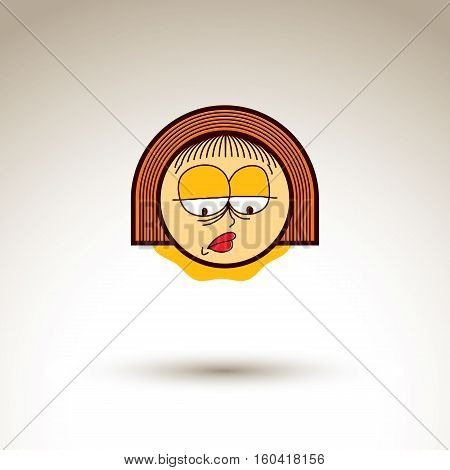 Vector Art Hand Drawn Illustration Of Sad Person. Girl Temperament Idea, Emotions On Woman Face. Web