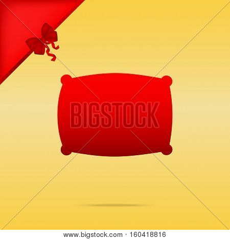 Pillow Sign Illustration. Cristmas Design Red Icon On Gold Backg