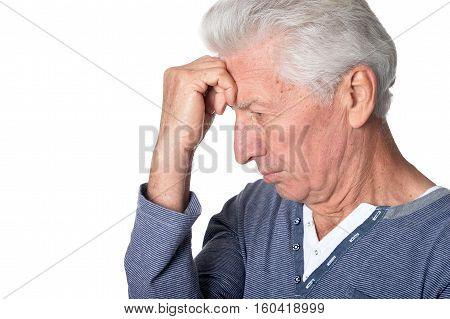 Portrait of stressed senior man isolated on white background