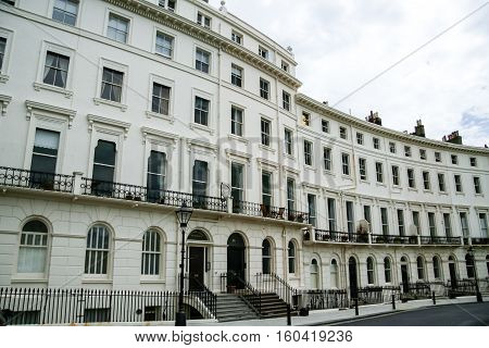 regency period terraced houses in brighton east sussex uk