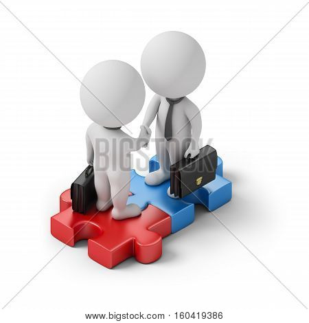 Isometric business people standing on the puzzle and make a handshake. 3d image. White background.