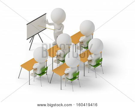 Isometric people studying in training courses. 3d image. White background.