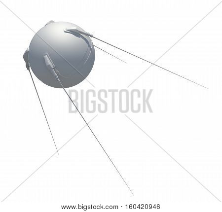 Satellite communications. 3D rendering. Isolated on white