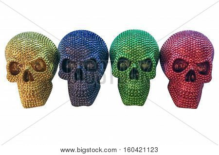 colored human skulls isolated on white background