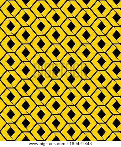 Yellow endless vector texture with green geometric figures and stylized honeycombs motif abstract contemporary geometric background. Creative artificial symmetric continuous pattern for graphic and web design.
