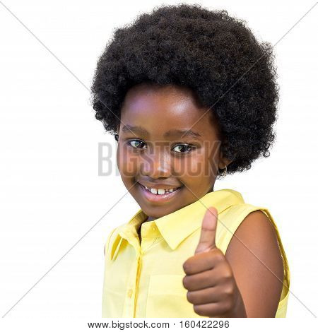 Close up portrait of little african girl with afro hairstyle doing thumbs up. Isolated on white background.