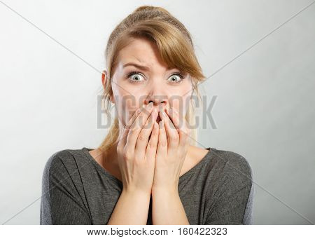 Nervous Lady Expressing Fear.