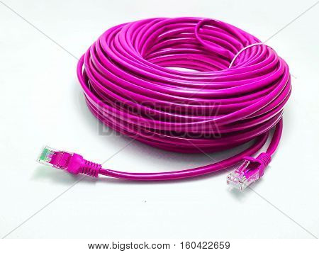 LAN cable for connecting to the Internet on a white background.