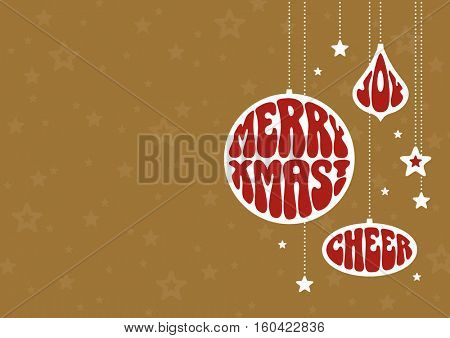 Christmas background with funky ornaments. Vector illustration in retro style with clipping mask.