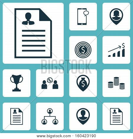 Set Of 12 Human Resources Icons. Can Be Used For Web, Mobile, UI And Infographic Design. Includes Elements Such As User, Growth, Career And More.