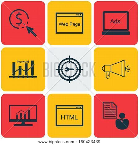 Set Of 9 SEO Icons. Can Be Used For Web, Mobile, UI And Infographic Design. Includes Elements Such As Marketing, Comprehensive, HTML And More.