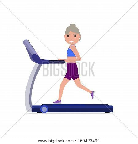 Vector illustration cute cartoon grandmother running on treadmill. Sporty old woman on training apparatus running track. Isolated white background. Flat style. Side view profile. Grandma on simulator.