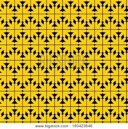 Contrast abstract seamless pattern with yellow arrows. Vector backdrop with arrowheads. Endless decorative background best for graphic and web design.