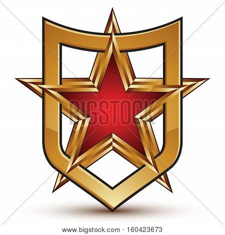 Heraldic 3D Glossy Shield Icon, Five-pointed Golden Star With Red Filling Placed In A Shield, Clear