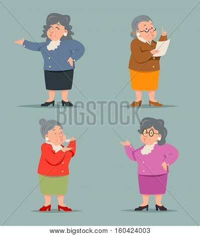 Vintage Adult Old Female Granny Character Icon Isolated Retro Cartoon Design Vector Illustration